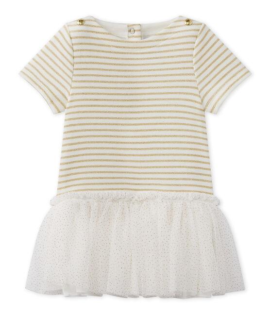 Robe bébé fille manches courtes blanc Marshmallow / marron Em Dore