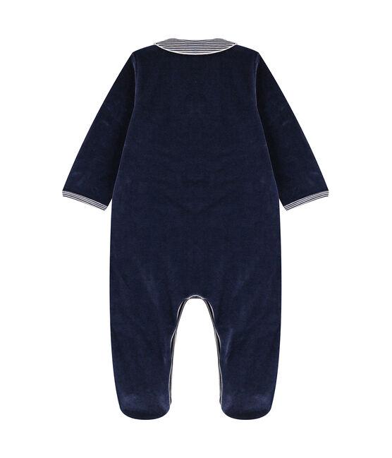 Dors bien bébé à col en velours bleu Smoking