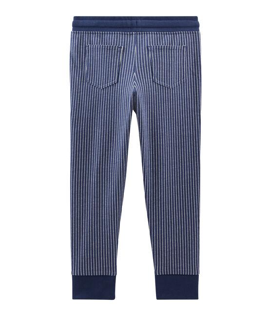 Pantalon en maille enfant garçon bleu Smoking / blanc Marshmallow