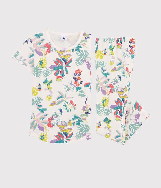 Pyjama imprimé jungle petite fille en côte blanc Marshmallow / blanc Multico