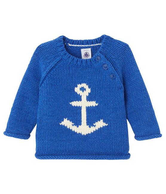 Pull jacquard bébé garçon bleu Limoges