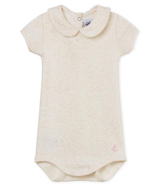 Body manches courtes col claudine brillant bébé fille blanc Marshmallow / rose Copper