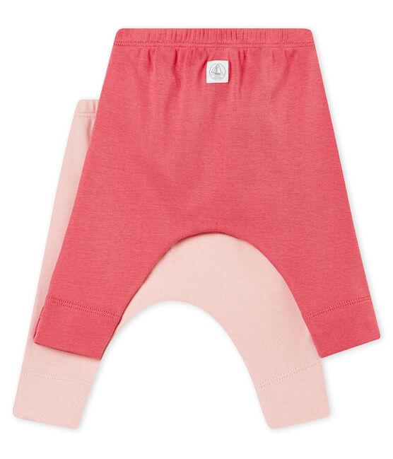 Lot de deux leggings bébé mixte en côte 1x1 grattée unie lot .