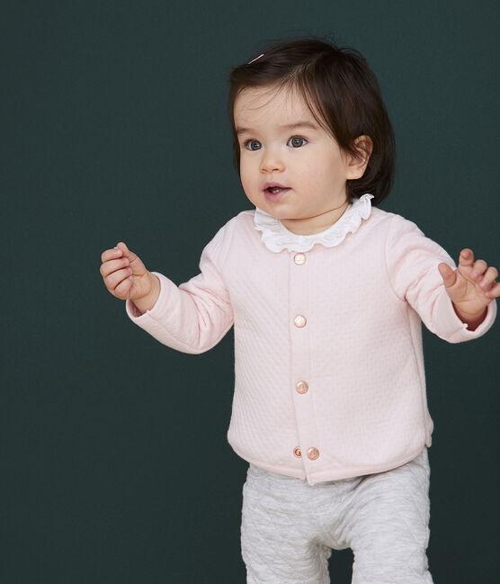 Cardigan bébé fille en tubique rose Minois