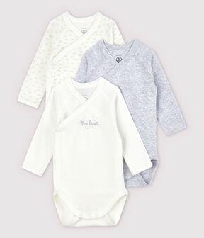 Lot de 3 bodies croisés manches longues bébé en coton biologique lot .