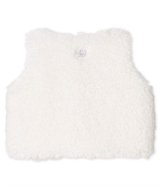 Gilet sans manches bébé fille en sherpa blanc Marshmallow