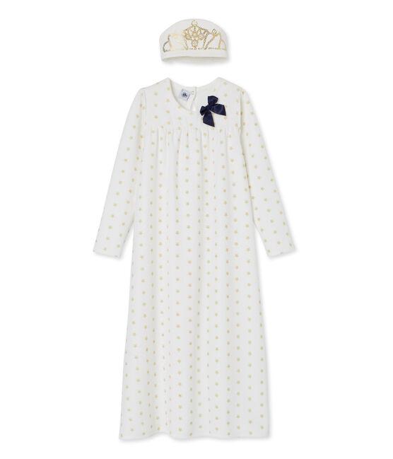 Chemise de nuit petite fille blanc Marshmallow / jaune Dore