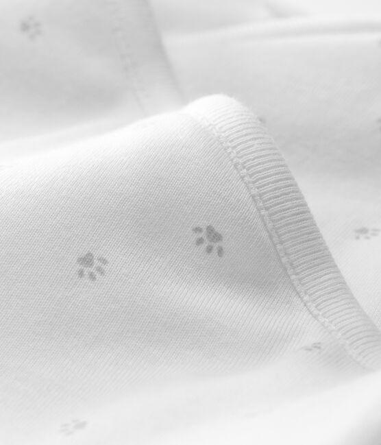 Combinaison longue bébé en côte ouatinée blanc Marshmallow / gris Souriceau