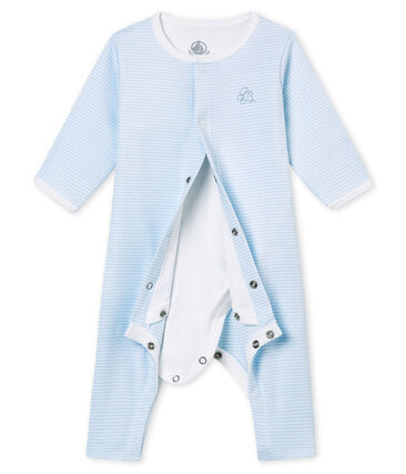 Dors bien sans pieds bébé mixte avec body intégré bleu Fraicheur / blanc Ecume