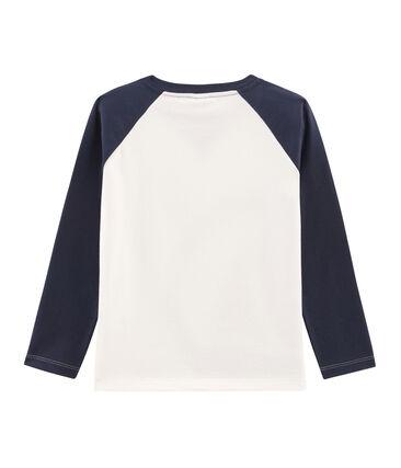 Tee-shirt manches longues enfant garçon blanc Marshmallow / bleu Smoking