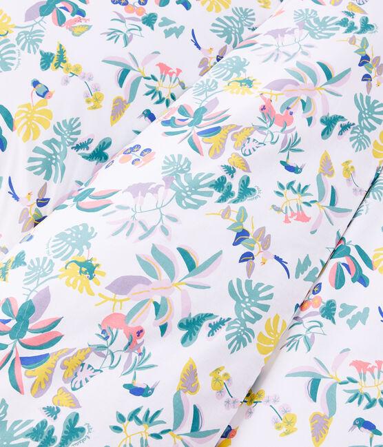 Parure de lit imprimée jungle en popeline blanc Marshmallow / blanc Multico