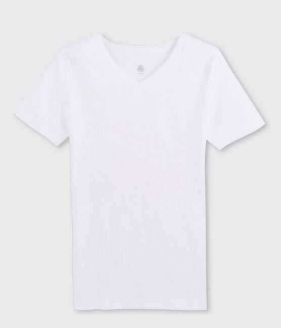 T-shirt manches courtes col V Homme blanc Ecume