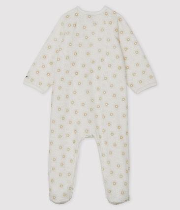 Dors bien bébé fille en velours blanc Marshmallow / jaune Or