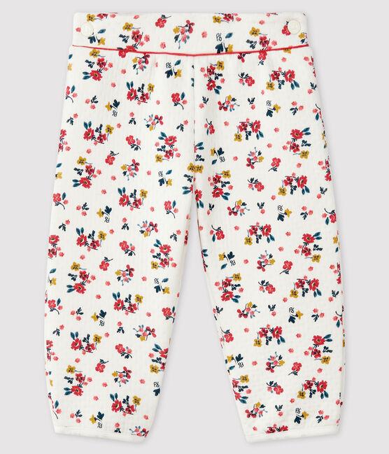 Pantalon bébé fille en tubique blanc Marshmallow / blanc Multico