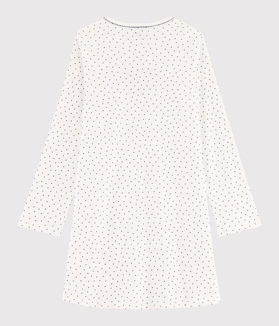 Chemise de nuit fille mini cœurs en côte blanc Marshmallow / bleu Medieval