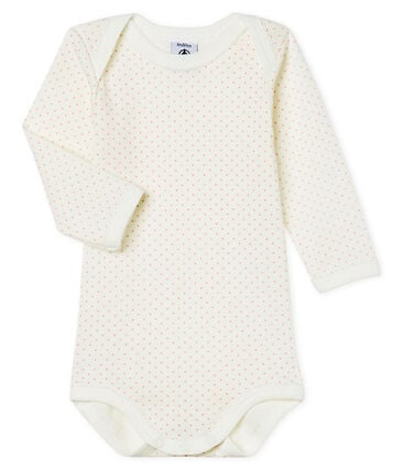 Body manches longues bébé fille blanc Marshmallow / rose Charme