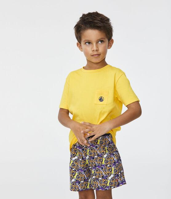 Short de plage impirmé enfant garçon blanc Marshmallow / blanc Multico