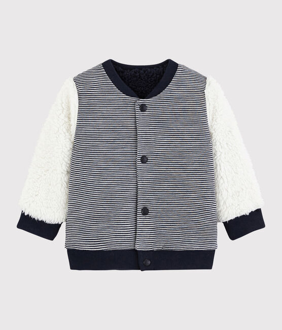 Cardigan réversible bébé garçon bleu Smoking / blanc Marshmallow