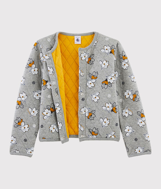 Cardigan en tubique enfant fille gris Subway / blanc Multico