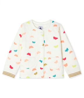 Cardigan bébé fille en tubique matelassé blanc Marshmallow / blanc Multico