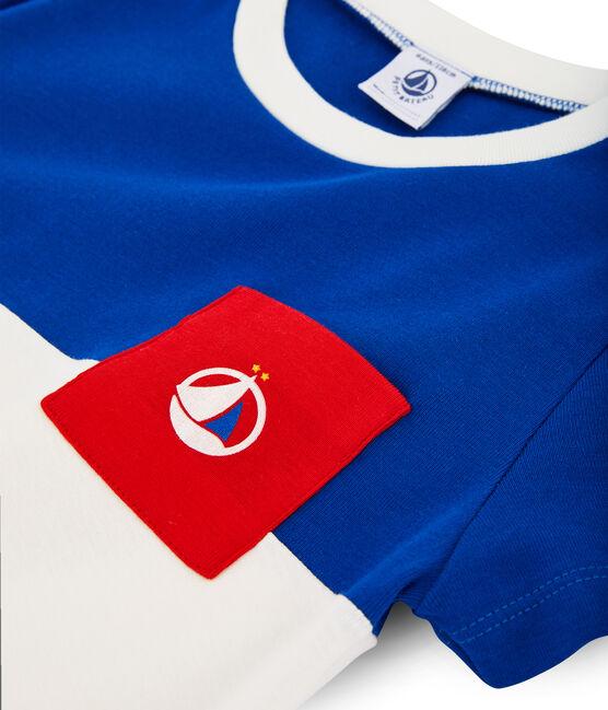Tee-shirt enfant garcon blanc Marshmallow / bleu Surf