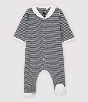 Dors-bien à rayures col vareuse bébé en coton biologique bleu Smoking / blanc Marshmallow