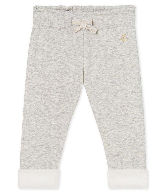 Pantalon bébé fille en maille velours gris Beluga