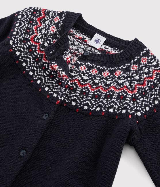 Cardigan laine et coton enfant fille bleu Smoking / blanc Multico