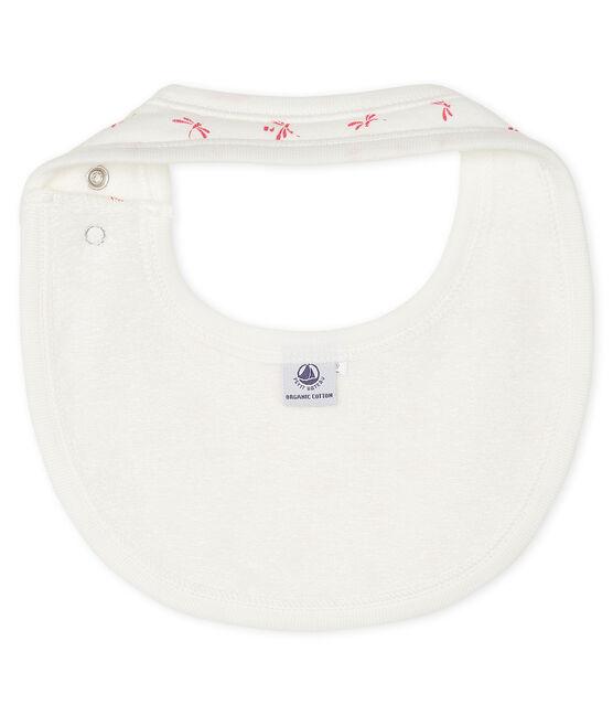 Bavoir bébé en côte blanc Marshmallow / rose Groseiller