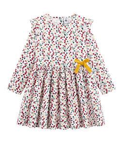 Robe imprimée enfant fille blanc Marshmallow / blanc Multico