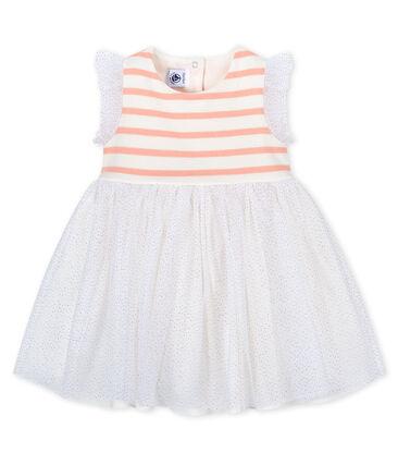 Robe bi-matières bébé fille blanc Marshmallow / rose Patience