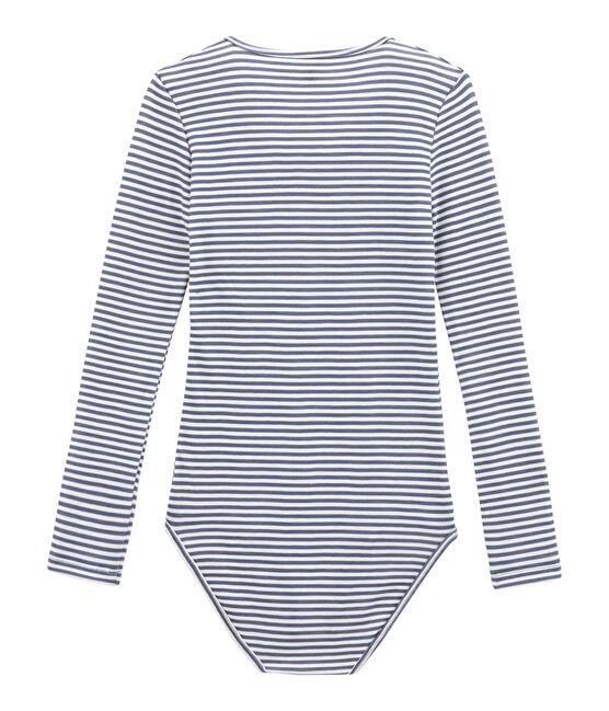 Body coton et laine pour femme bleu Turquin / blanc Marshmallow
