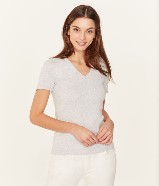 Tee-shirt manches courtes col V femme gris Poussiere Chine