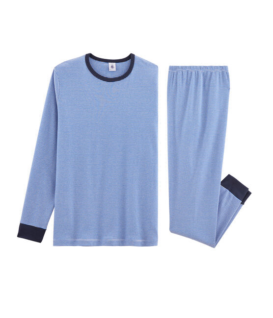 Pyjama garçon en côte bleu Pablito / blanc Marshmallow