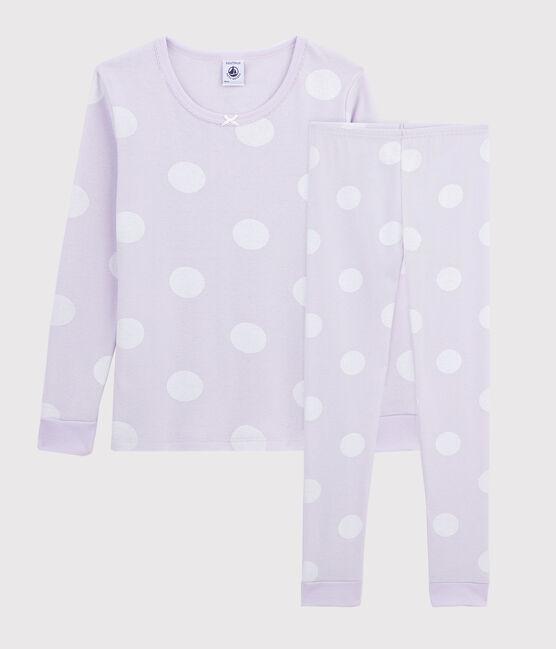Pyjama snugfit à pois petite fille en côte violet Liseron / blanc Ecume