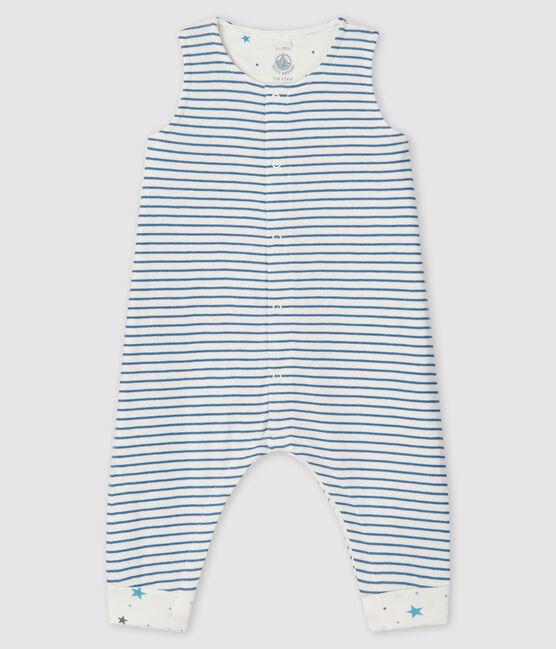 Salopette à rayures longue bébé garçon en tubique blanc Marshmallow / gris Tempete