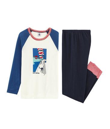 Pyjama petit garçon en côte bleu Smoking / blanc Multico