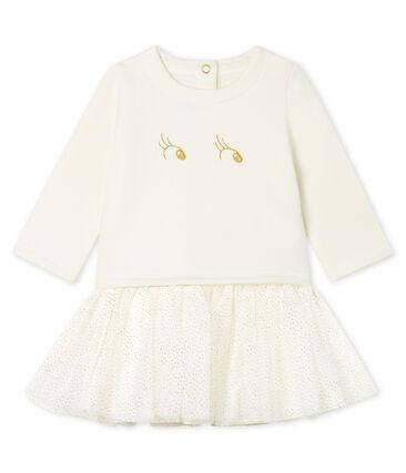 Robe manches longues bi-matière bébé fille blanc Marshmallow