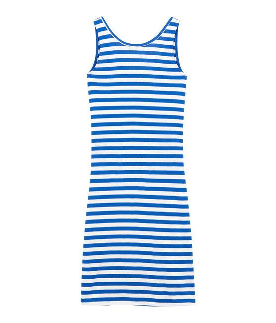 Robe de plage femme bleu Perse / blanc Marshmallow