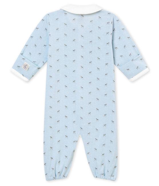 Combisac bébé garçon en tubique imprimé bleu Fraicheur / blanc Multico