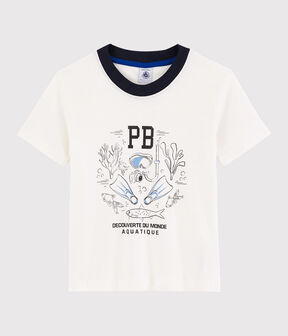 Tee-shirt manches courtes en coton enfant garçon blanc Marshmallow