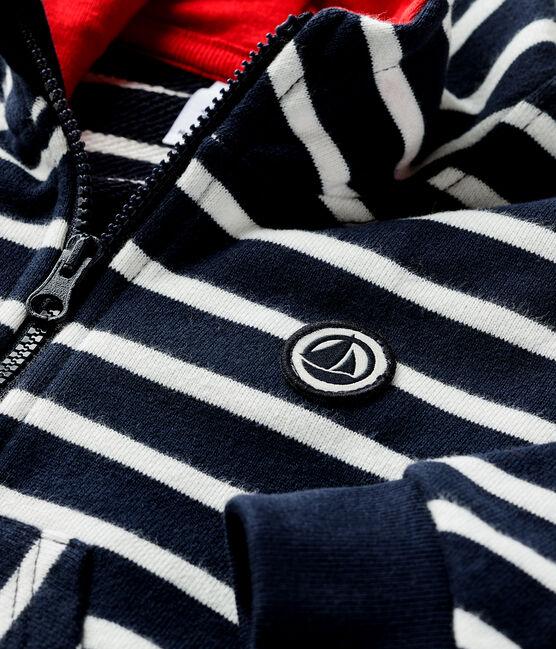 Sweatshirt à capuche bébé garçon bleu Smoking / blanc Marshmallow