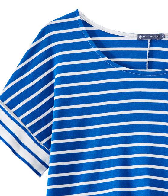 T-shirt femme oversize à rayures bleu Perse / blanc Marshmallow