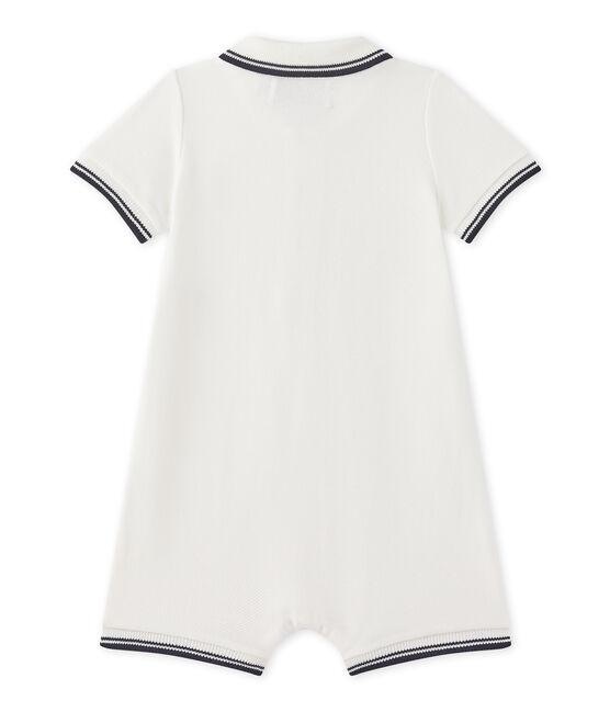 Combinaison courte bébé garçon en jersey piqué blanc Marshmallow