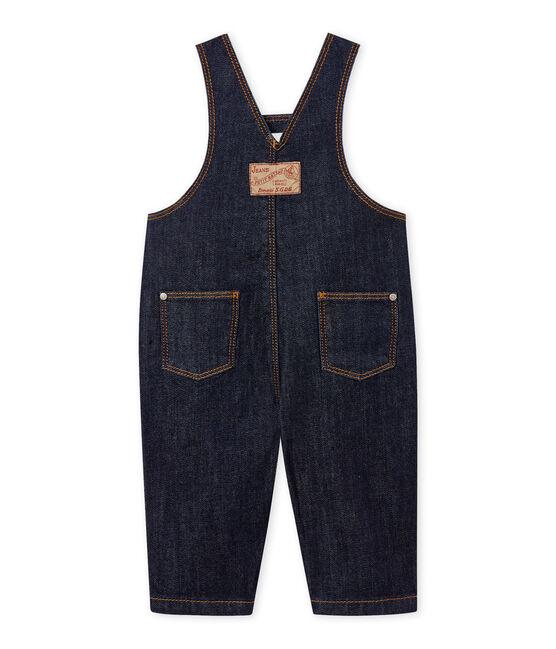 Salopette longue bébé mixte en jean bleu Jean