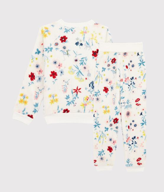 Pyjama petite fille taille montante à fleurs en polaire blanc Marshmallow / blanc Multico Cn