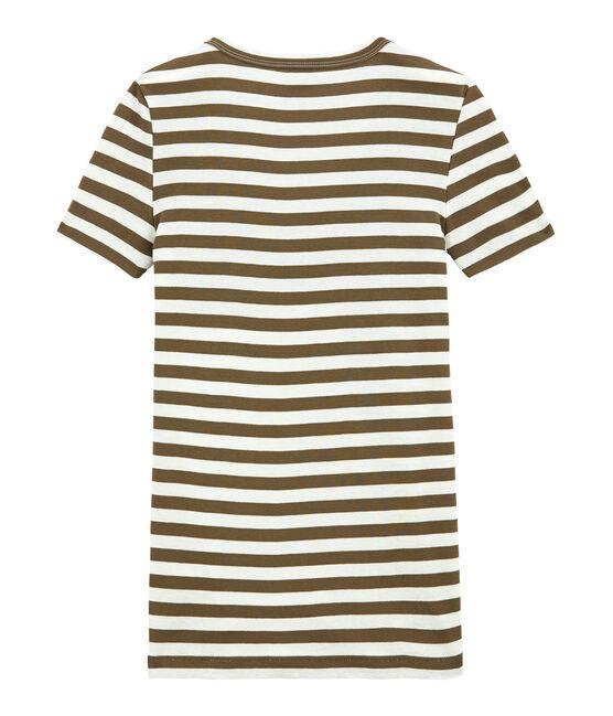 T-shirt femme col V en côte originale rayée marron Shitake / blanc Marshmallow