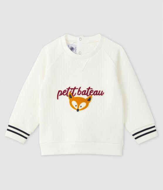 Sweatshirt bébé garçon imprimé blanc Marshmallow