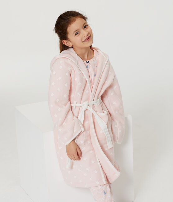 Robe de chambre enfant en polaire rose Minois / blanc Marshmallow