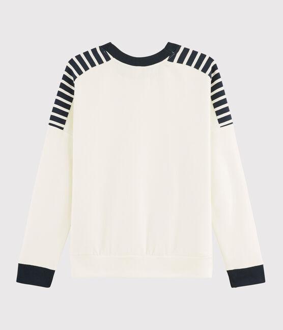 Sweat shirt Femme blanc Marshmallow / bleu Smoking